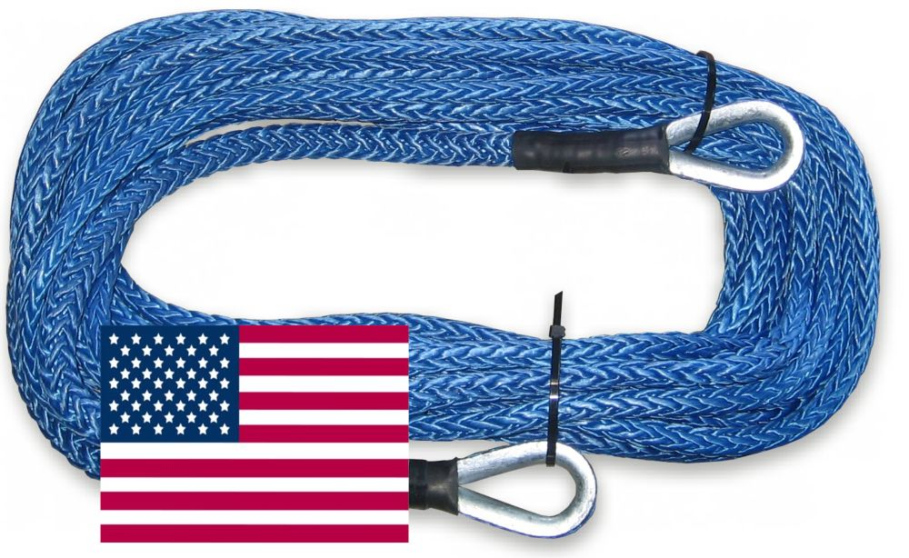 19,600lb Strength U.S Off-Road Vehicle Recovery Military Green Made AMSTEEL Blue Winch Rope 3//8 inch x 100 ft